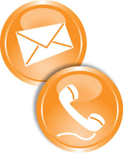 Orange icon for call or email