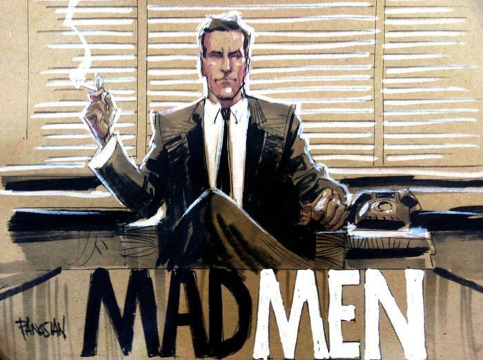 Illustrative drawing of an advertising man.