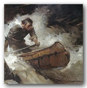 Painting canoes, birchbark canoe, shooting the rapids