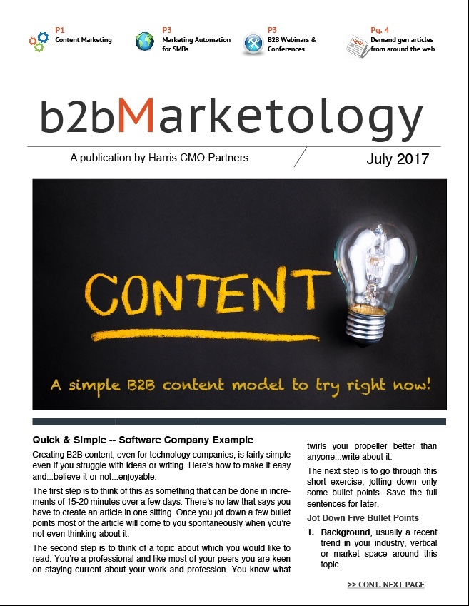 B2B Marketology, July 2017, from Harris CMO Partners