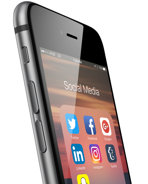 Image of mobile phone with social icons