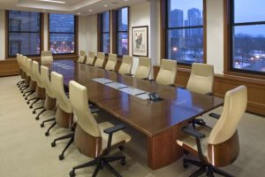 Picture of a Chicago boardroom with large conference table.