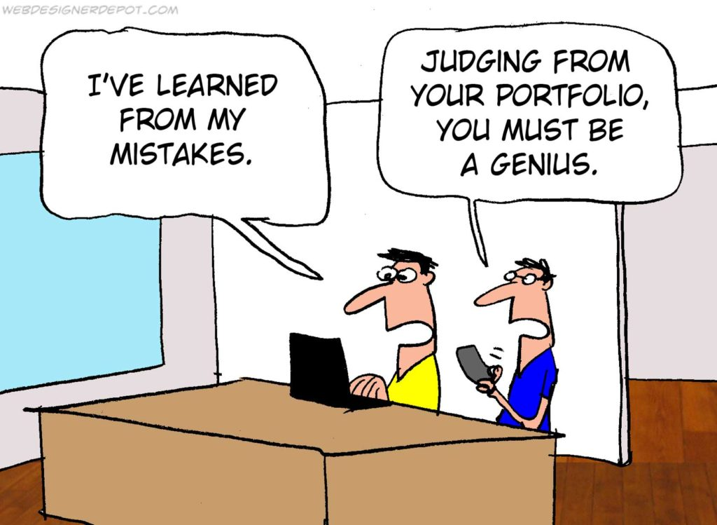 Cartoon, satire of office worker's mistakes, marketing disaster.