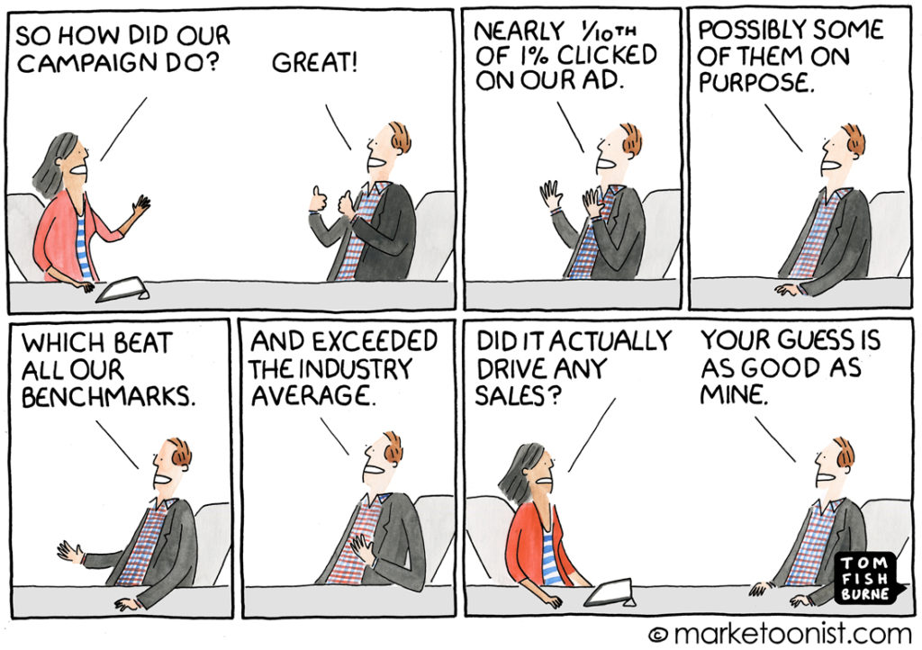 marketing metrics cartoon - email results