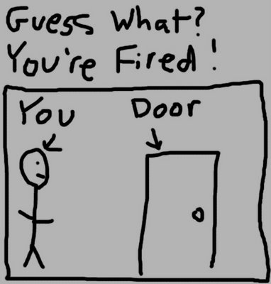 Kid's drawing, 'you're fired'